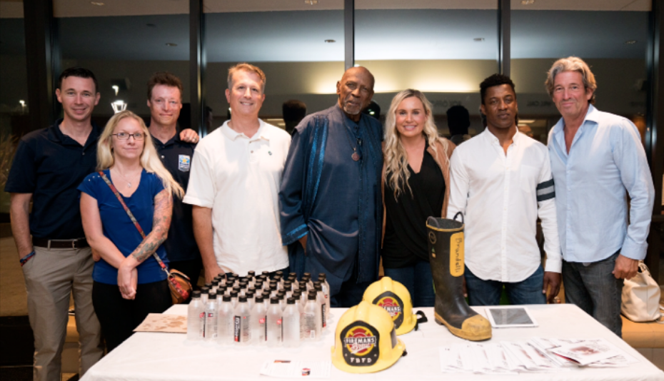 Members of UCLA's Operation Mend program (L to R) with Lou Gossett, Jr (center), Melanie Gideon, Operation Mend program director, Captain Mike Henry, FireFighters Down co-founder, and Rob Bruce, MCLA associate director . . . (Photo courtesy Alex Martinez)