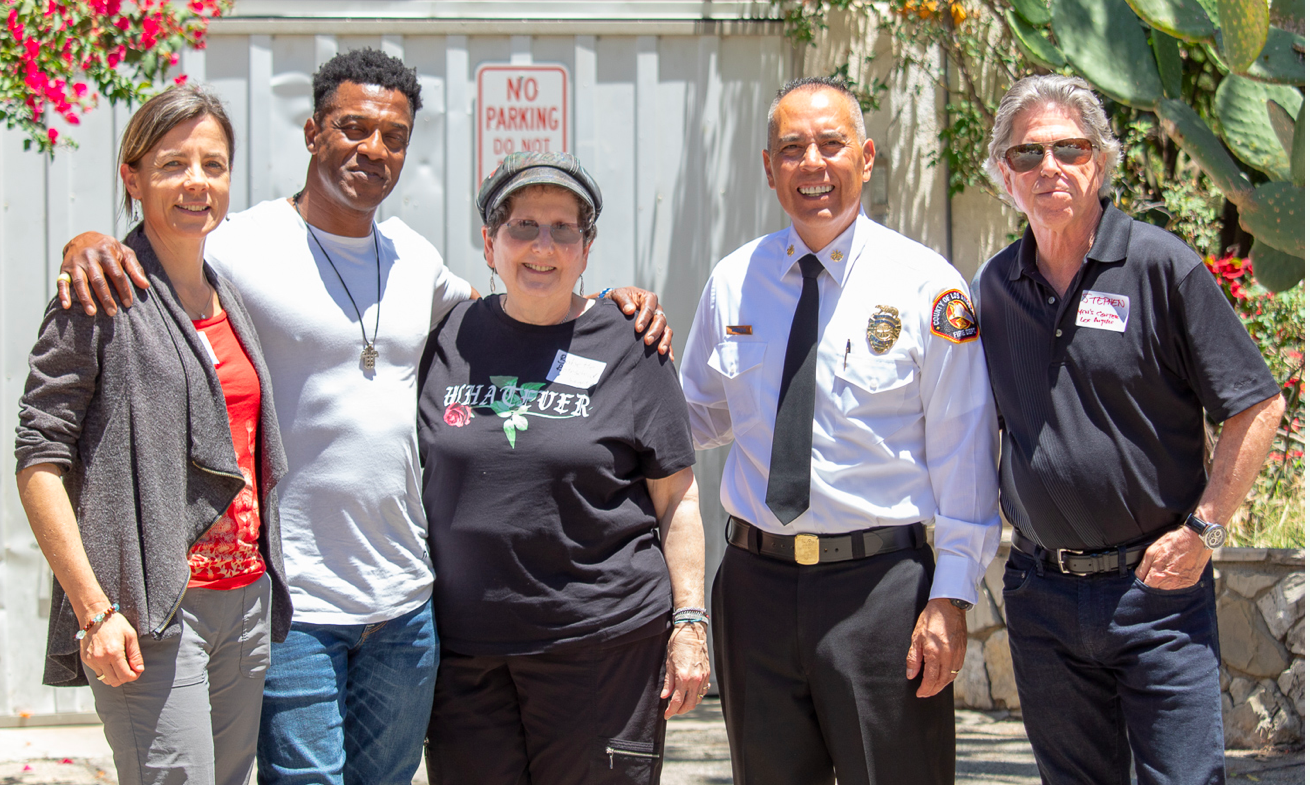 MINDFULNESS IN NATURE:    (L-R) Babbette Rothschild; Captain Mike Henry; Christiana Wolf; Deputy Fire Chief Angel Montoya, LA County Fire Department; Dr. Stephen Johnson, Firefighters Down Director of Therapy