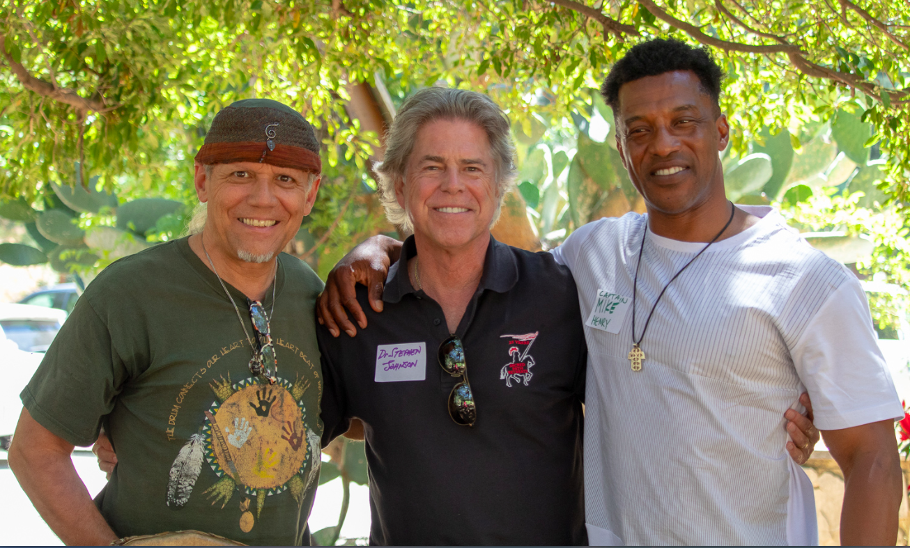 MINDFULNESS IN NATURE:    International Master Music Maestro Christo Pellani with Men's Center Los Angeles Executive Director Dr. Stephen Johnson and LA County Fire Department Captain Mike Henry facilitating special     FireFighters Down     therapeutic healing group event on the mountain in June.