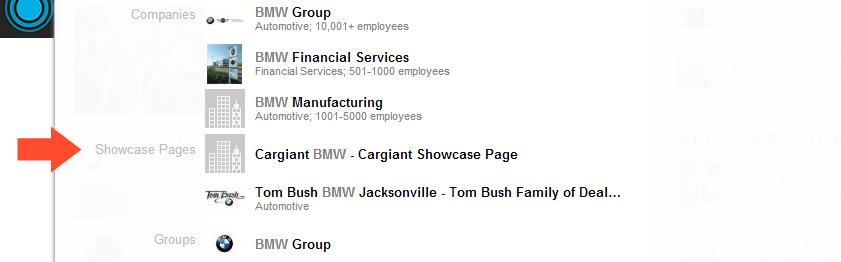 LinkedIn Showcase Page example