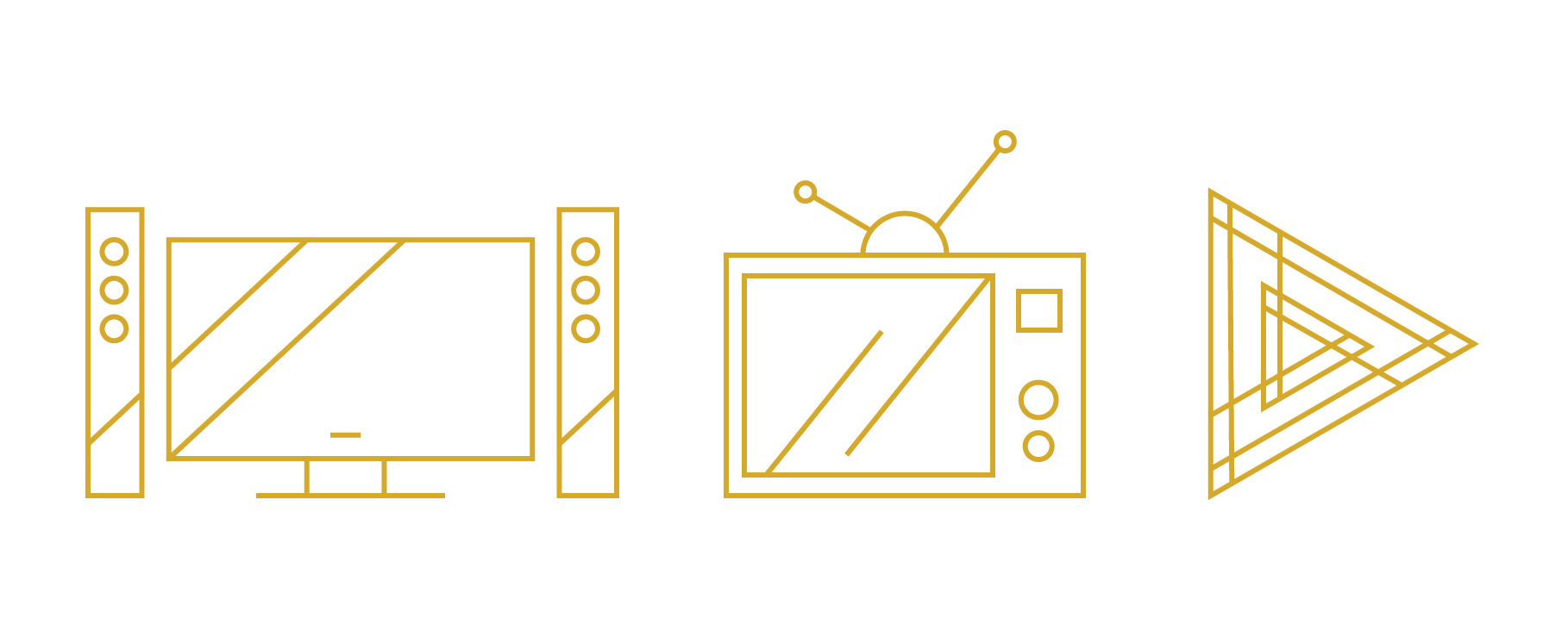 Here is a good example of content choice in an icon that can impact the brand voice. These icons all get at the idea of video, but each allows for a different tone of voice when referring to video. Does your company want to be modern with a fancy tv set up, or quirky and retro hipster with an old tv, or more geometric but straightforward with a play button? One option is more humorous, one is very stylistic and artistic, and the other choice is rich, modern and clean.