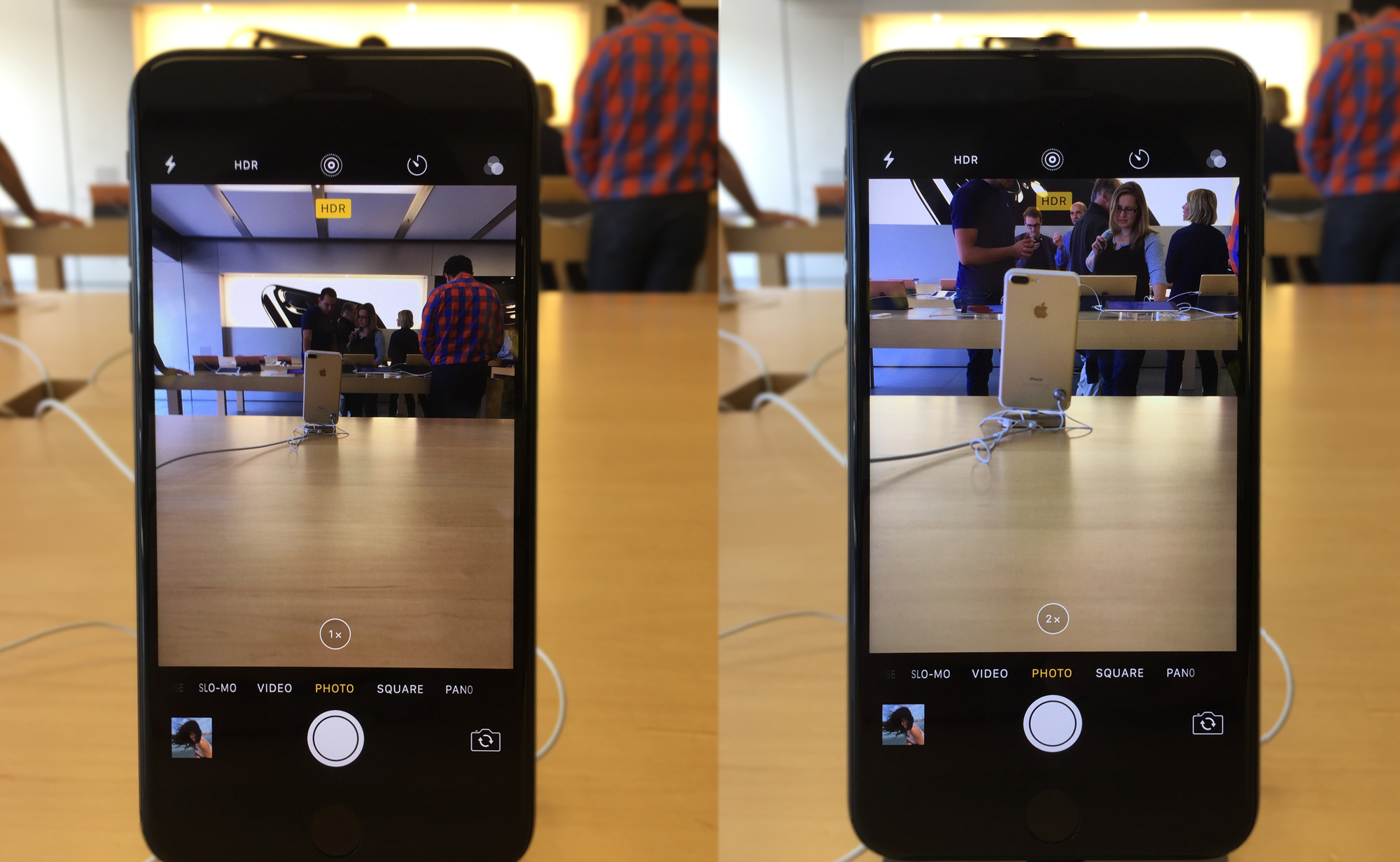 This shows the same phone looking at the same object, but the one on the right is using the new telephoto lens. Look at how much closer it appears without losing any quality.
