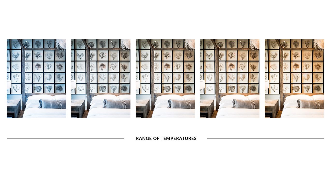 Here is an even wider range of color temperature than the previous set. They all look great but all have a different vibe associated with each ranging from wintery all the way to opulent golden.