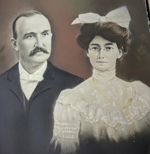 Calvin 'Cal' and Christine Gilman's wedding portrait. March, 1903