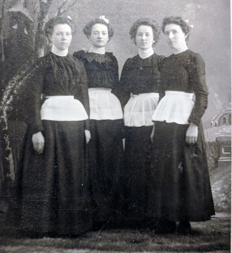 The dining room girls of the Pokegama ca. 1895. Grandma Christine is second from the left. Photograph by Adry Carlson.