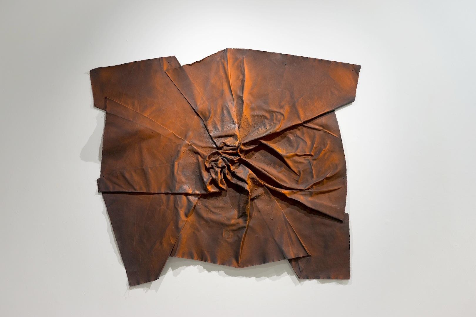 "Emanuel Ciobanica: ""Burning Silence""  Acrylic and wax on raw canvas, 2015  5′ x 5′"