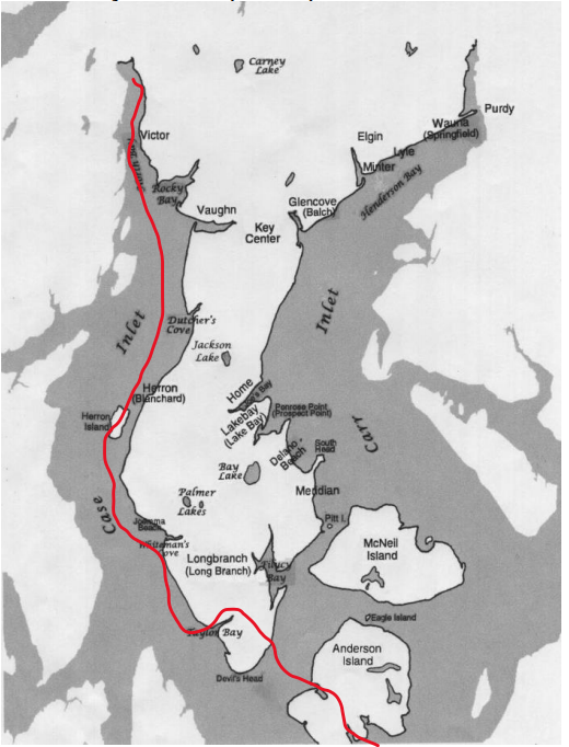 The line shows route first used by the used by the Nisqually, then later by Hudson Bay Company (1832) employees and early settlers (1870s)