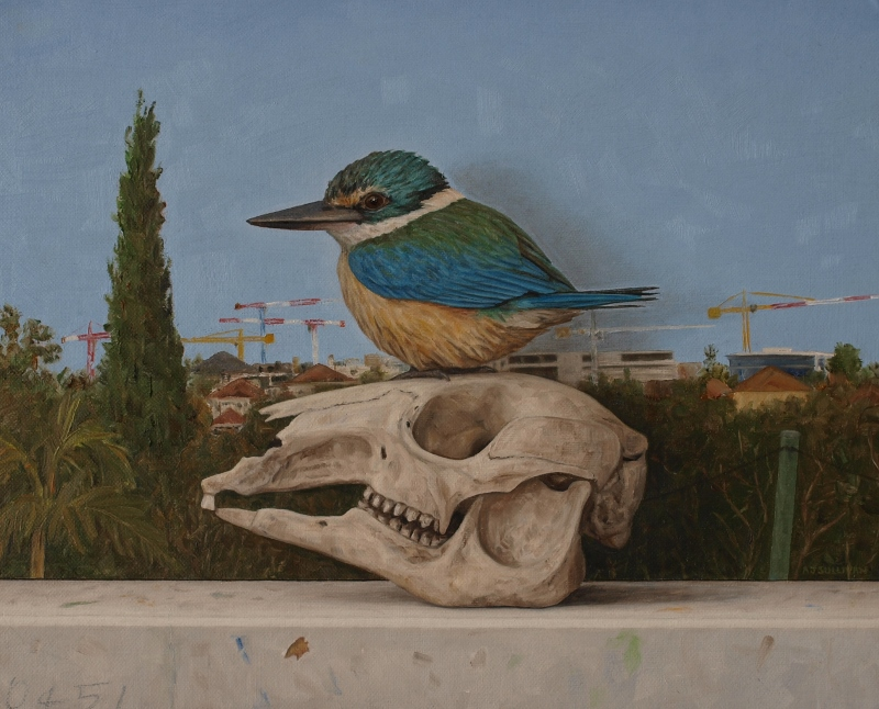 Sacred Kingfisher with Painted Landscape