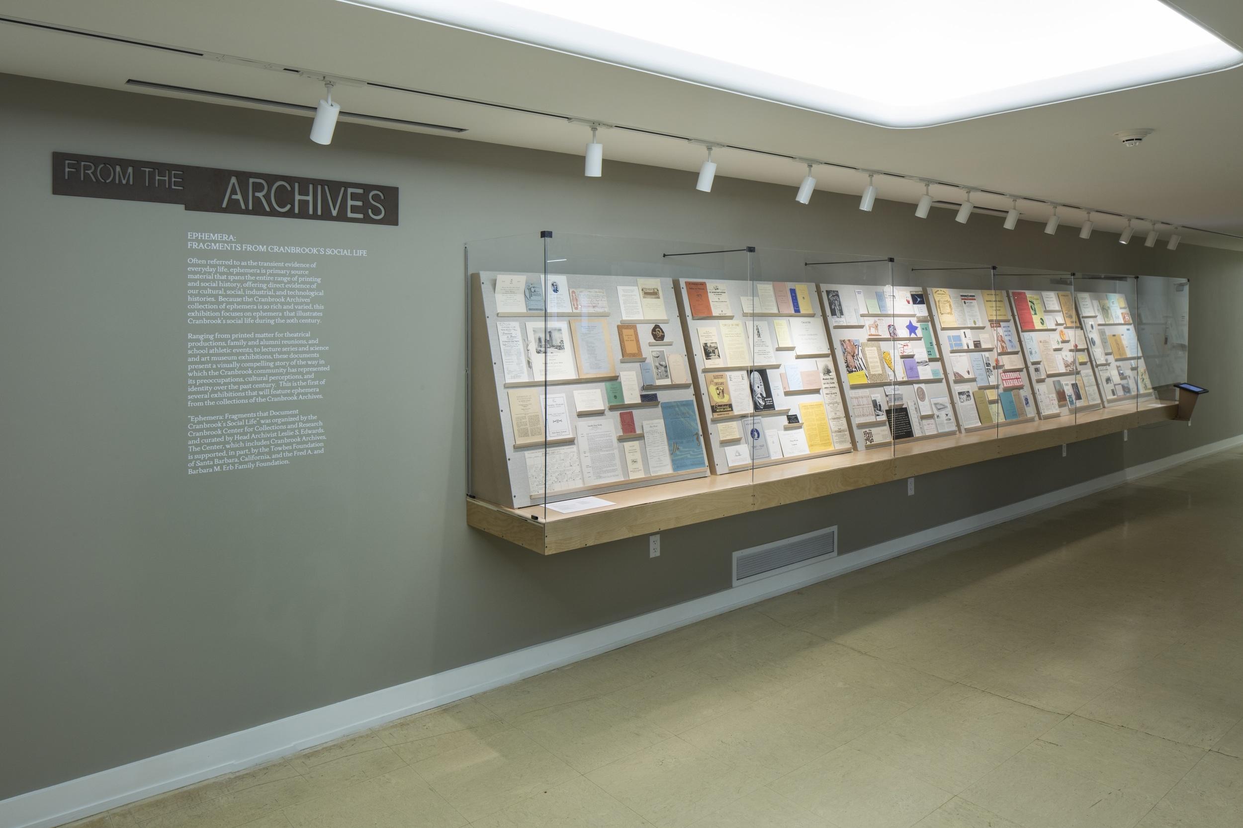 EPHEMERA: FRAGMENTS FROM CRANBROOK'S SOCIAL LIFE   Cranbrook Art Museum June 2014 - September 2014 Photo: R.H. Hensleigh
