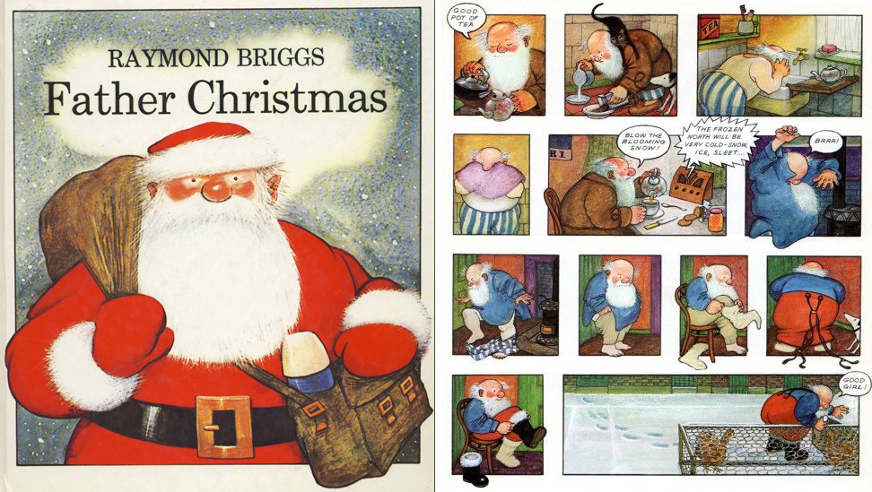 Raymond Briggs' work (except for  The Snowman ) is not well known in the U.S., but this book is a British classic. I grew up with  Father Christmas  grumping his way through December 25. I gave it to Junior and his cousins a few years ago and now they enjoy Father Christmas cursing the weather too!