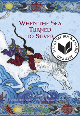 Is that horse really a horse? Why is it diving so eagerly into the sea? Grace Lin also illustrates her books and the reviewers universally raved about the illustrations. The audio CD came with a PDF of the illustrations, but we didn't get to them. Next time!
