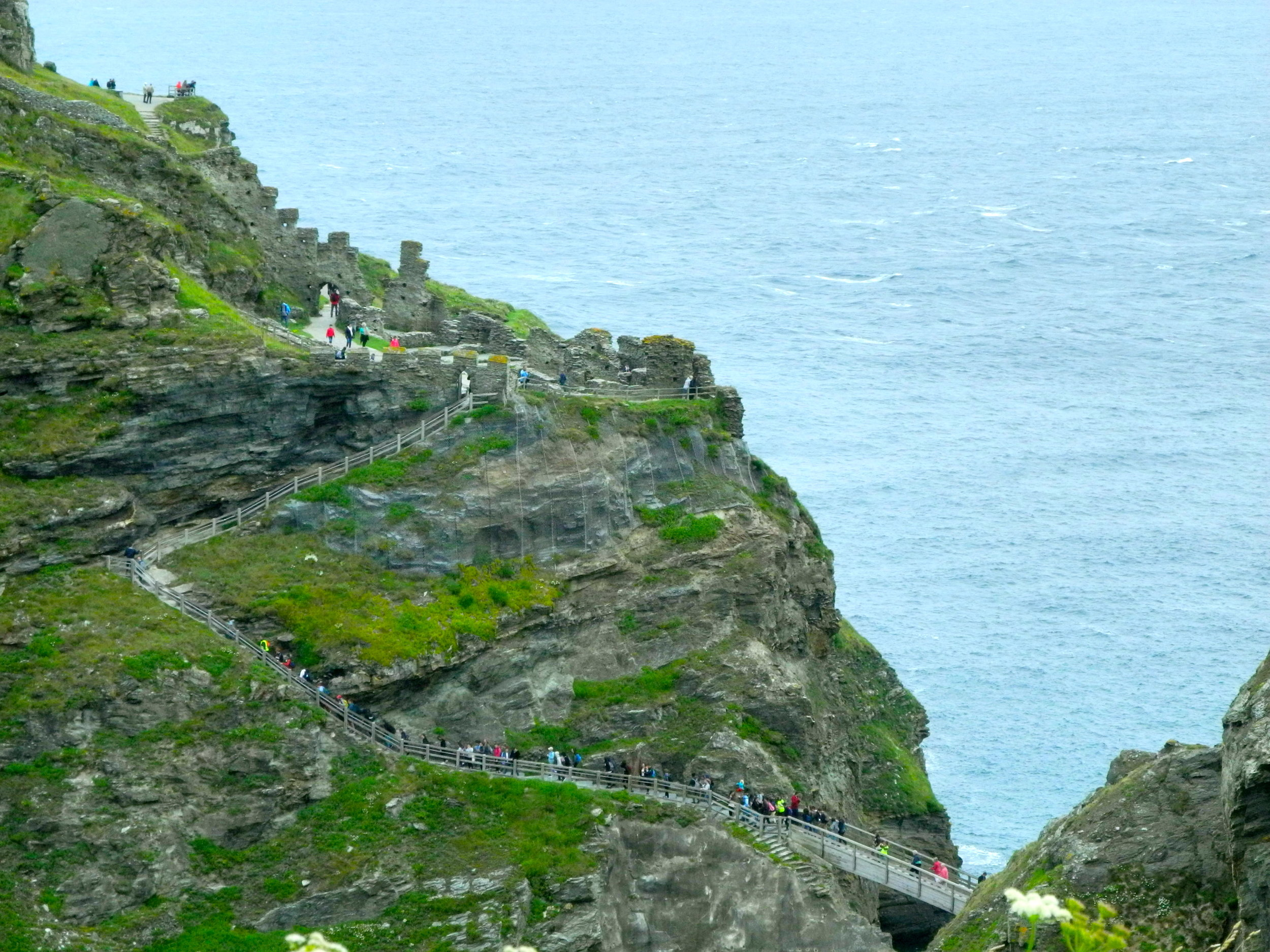 Access path from the Cornwall mainland (on the left) to Tintagel Island.