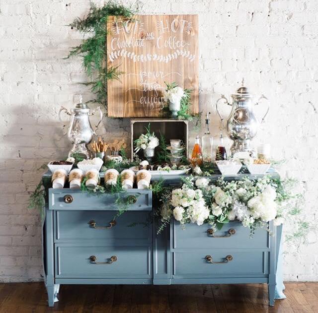 Repurposed Dresser turned hot chocolate bar! As feature in Alabama Weddings magazine 2018.