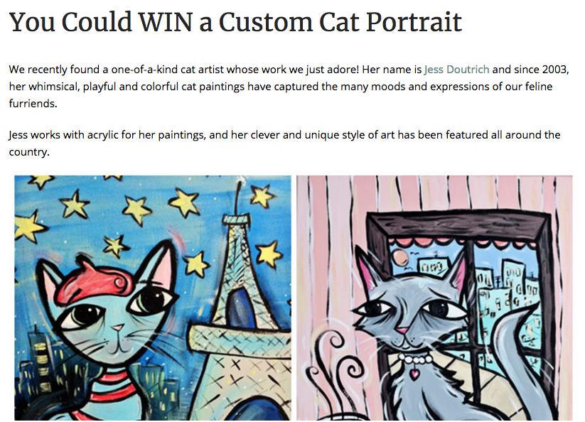 The  Purrington Post  wrote up a nice feature on my work; so grateful to have so much support from the cat community!