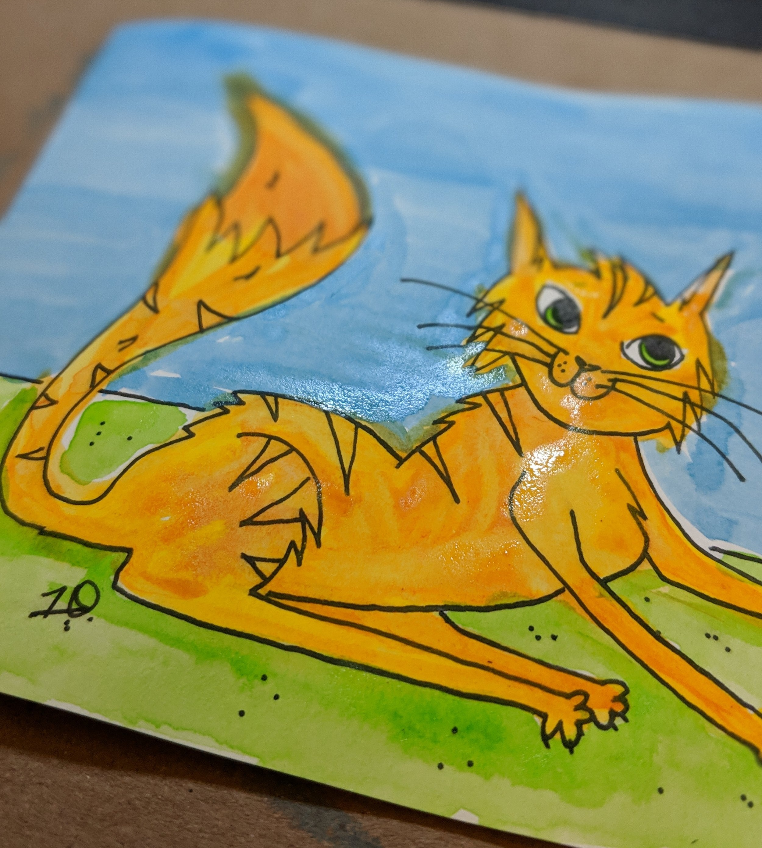 "Still a little wet from the painting session - in 2019, I will be offering ""Mini Meow-sterpieces,"" so that everyone can own a little piece of a Jess Doutrich original! #catart"
