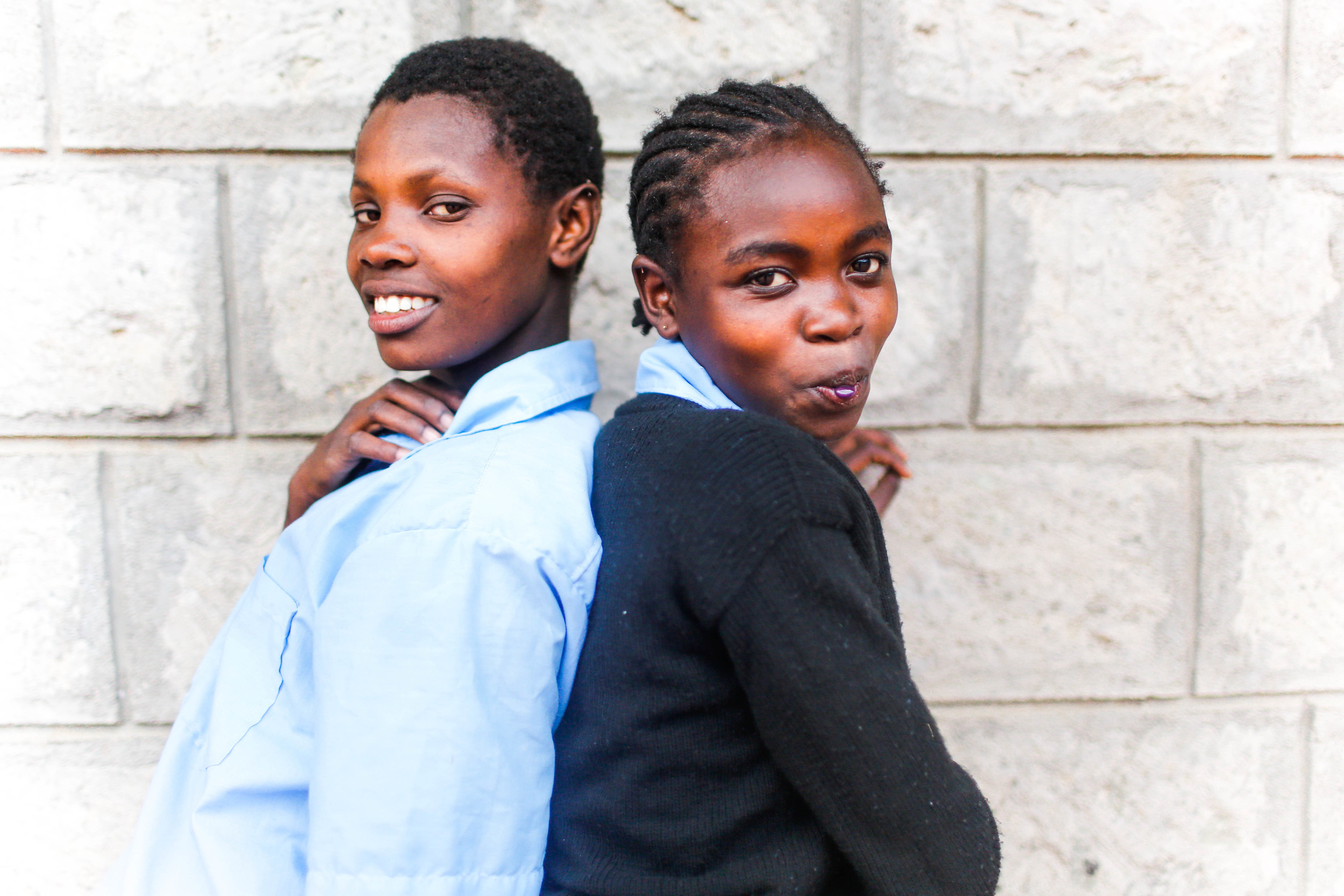 Magdalene and Tracy, two of the newest girls rescued from the streets of Nairobi.