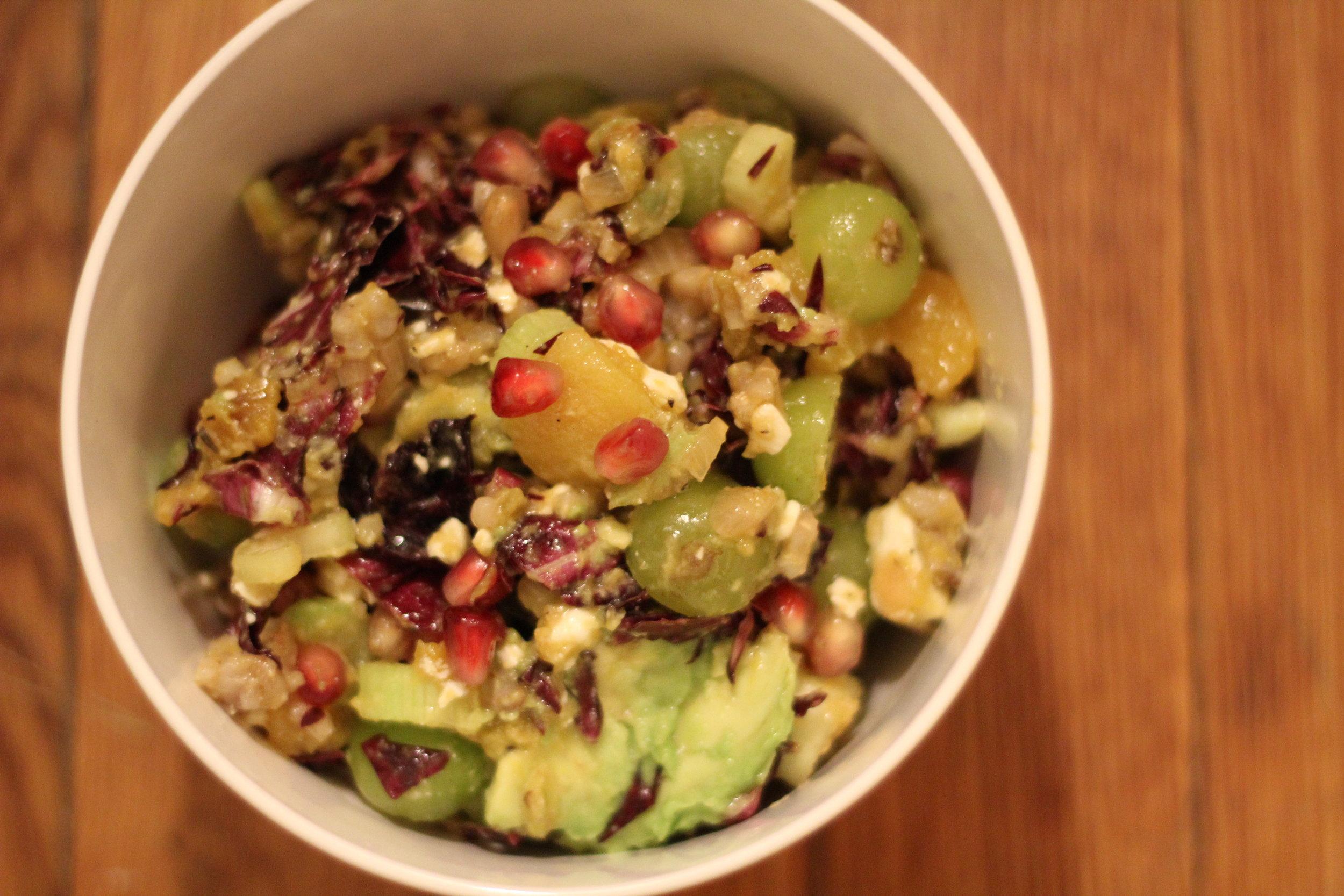 wintery chopped salad - radicchio, toasted walnuts, chopped celery, pomegranate seeds
