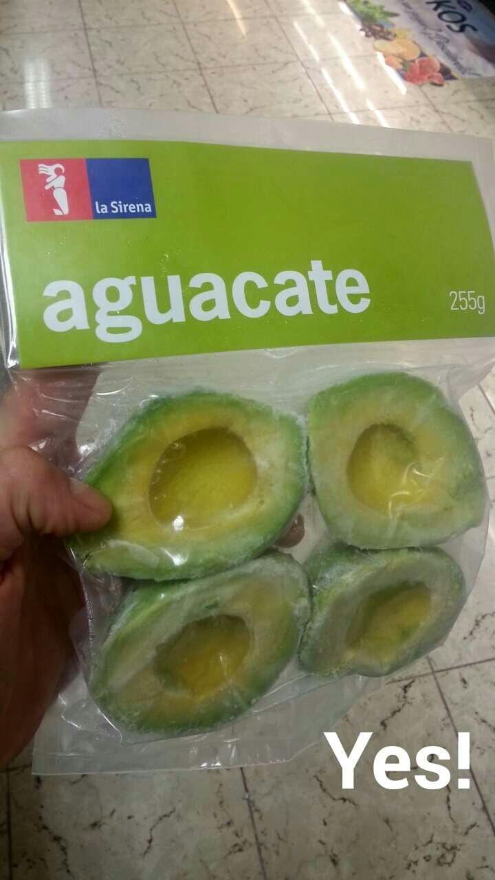 Frozen pitted avocados! I've never seen these in the US, seems like a great idea to me (I didn't buy them, so I will report back later!)