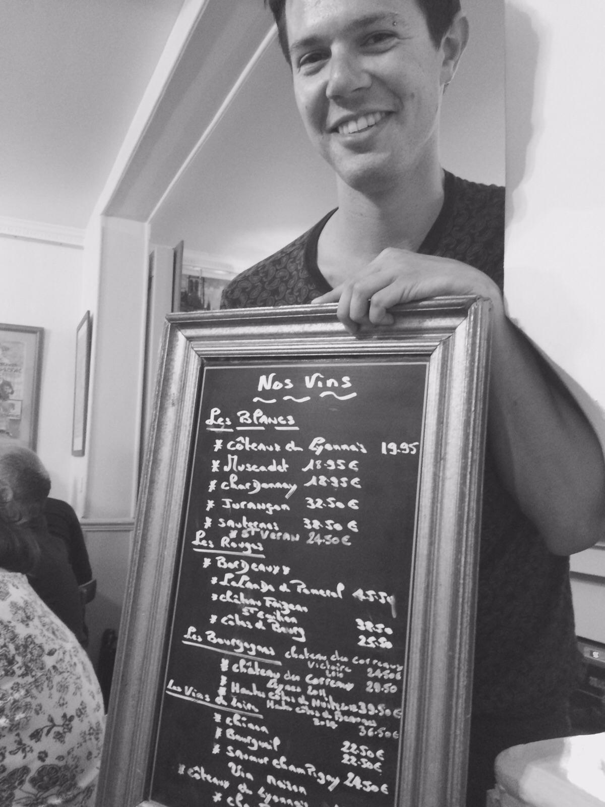 The wine menu at Le Vieux Belleville was mobile