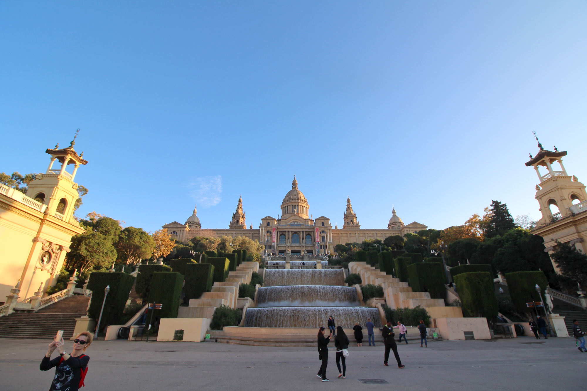 """This is the Palau Nacional, and the """"Magic Fountain"""" is at the top of the steps"""
