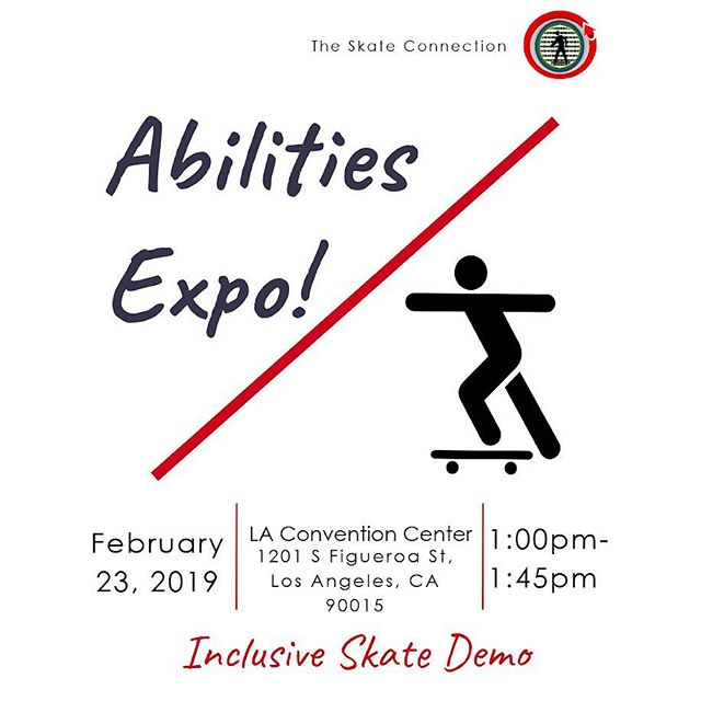 Only 6 more days until we see you all for the first time this year! Come out and shred with us!🛹 #TheSkateConnection #SkateIncludeCreate #SkateboardingIsFun #Skateboard #AbilitiesExpo