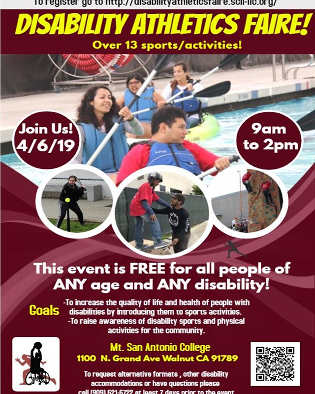 Come join us tomorrow! We will be having a clinic at Mt. Sac at the Disability Athletics Fair tomorrow. Register online and we will see you there! #skateincludecreate