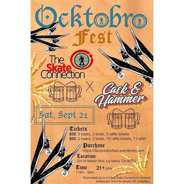 Hey everyone! Tickets are still available for our annual Oktobrofest fundraiser this coming Saturday, September 21st from 11AM to 2PM! Go to the link in our bio to get them while you can!! All proceeds go towards our mission of promoting inclusion through skateboarding! So come out and have some beers and brats for a good cause!!🛹🇩🇪🍻 #Oktobrofest #TheSkateConnection #CaskAndHammer #SkateIncludeCreate