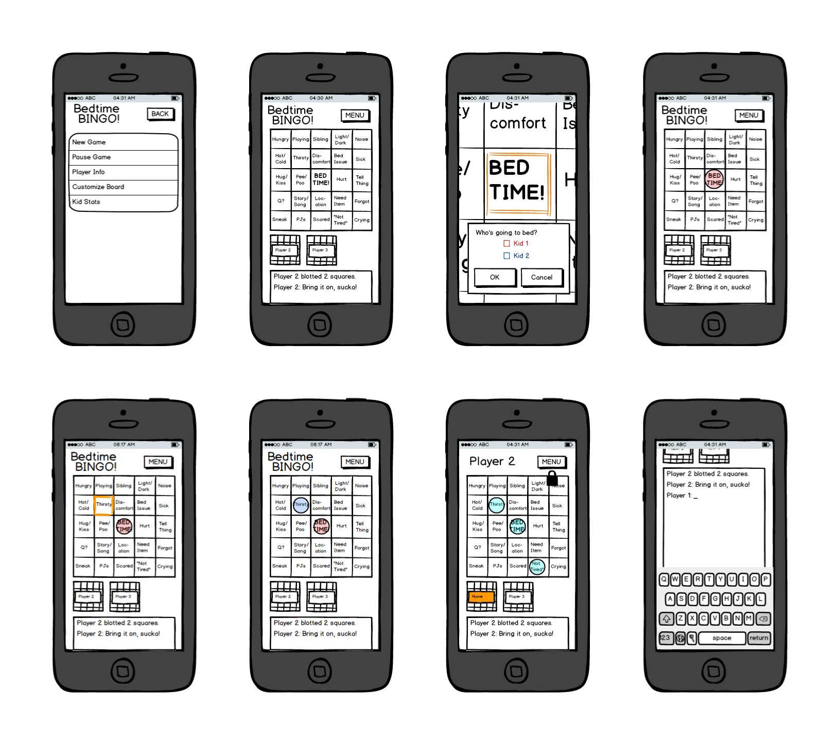 Some early wireframes used for paper prototype usability testing.