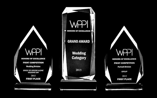 2015 WPPI Wedding Grand Award and Honors of Excellence 1st place categories trophies