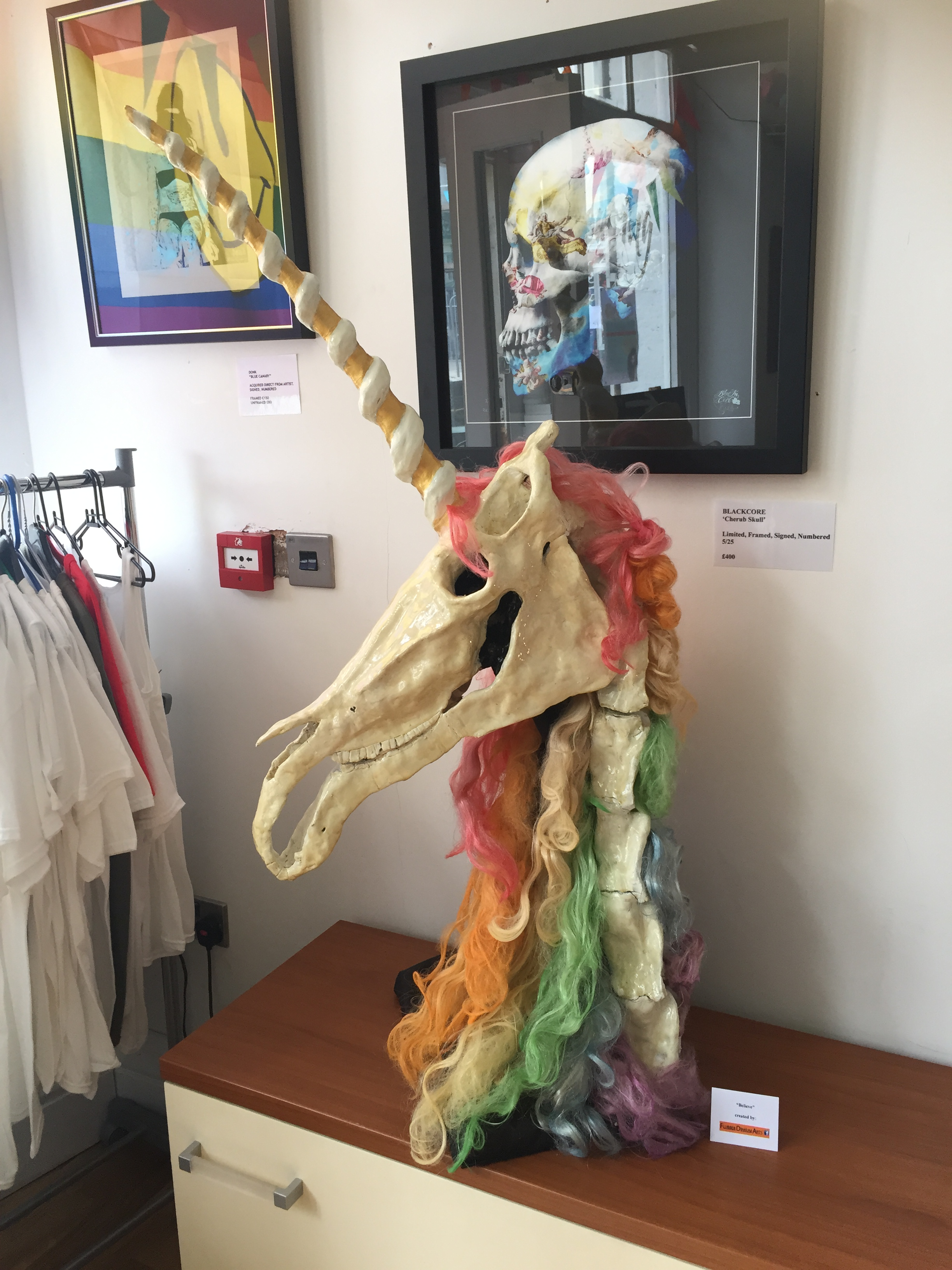 Big Gay Unicorn Skull, made especially for CHAPTER XIII for PRIDE.. because you cant have a pride party without a homosexual unicorn... This will be on displayin the gallery for the next few weeks and is open to offers.. See, Proof.. UNICORNS ARE REAL!!