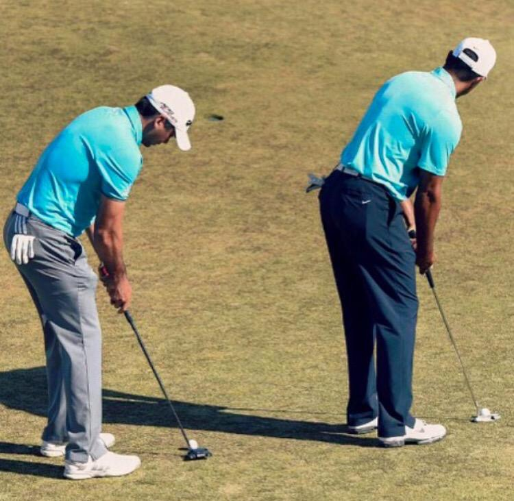 Tiger Woods and Jason Day practicing at Chambers Bay