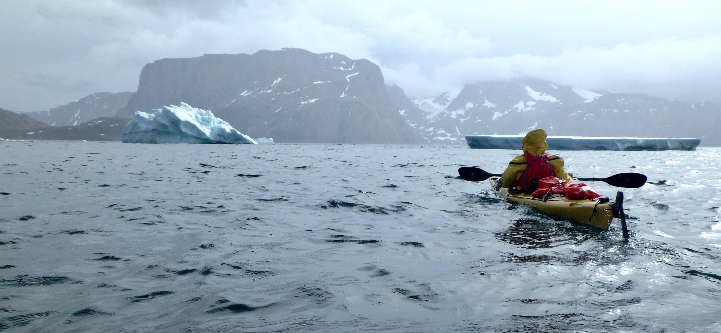 Roger sea kayaking in Greenland.