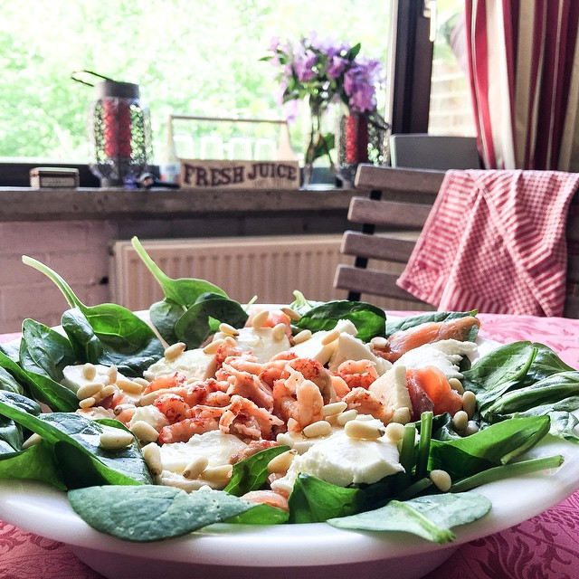 shrimp and baby spinach salad