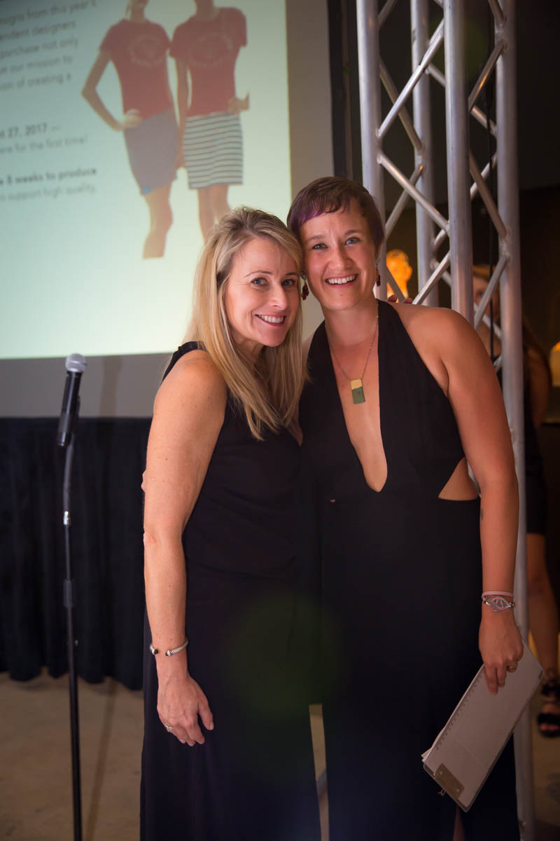 Executive Director of Redress Raleigh, Beth Stewart, with Cindy McNaull, Global Brand and Marketing Director at INVISTA, one of the sponsors of the fashion show.