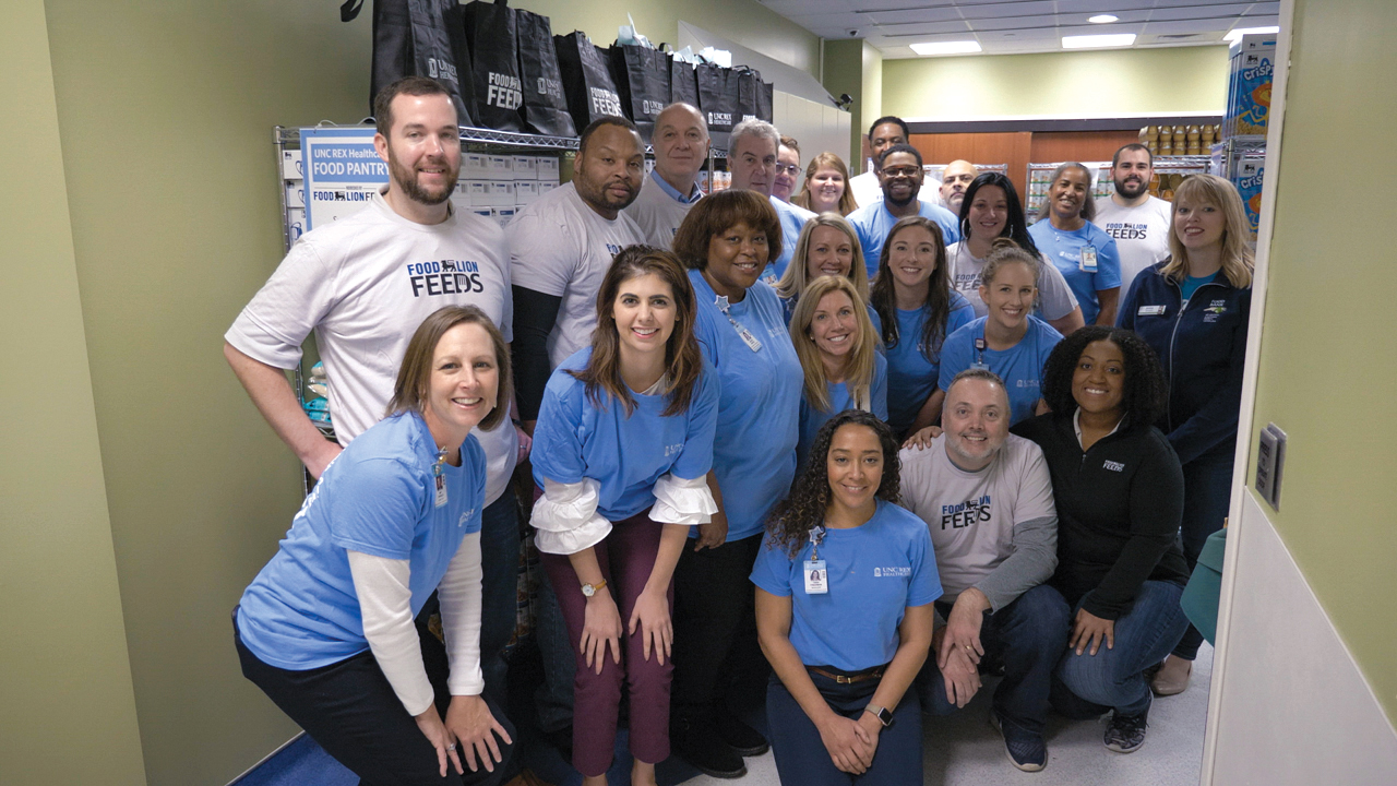 UNC REX Healthcare, in partnership with Food Lion and the Food Bank of Central and Eastern North Carolina, opened a food pantry to provide nutritious foods for patients who are considered food insecure. (Photo courtesy of UNC REX Healthcare)
