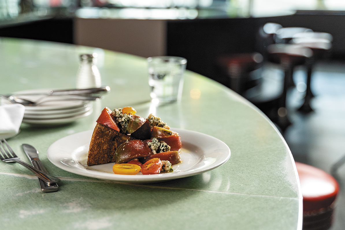 heirloom tomatoes with grilled cornbread, butter milk bleu cheese, and white balsamic thyme vinaigrette