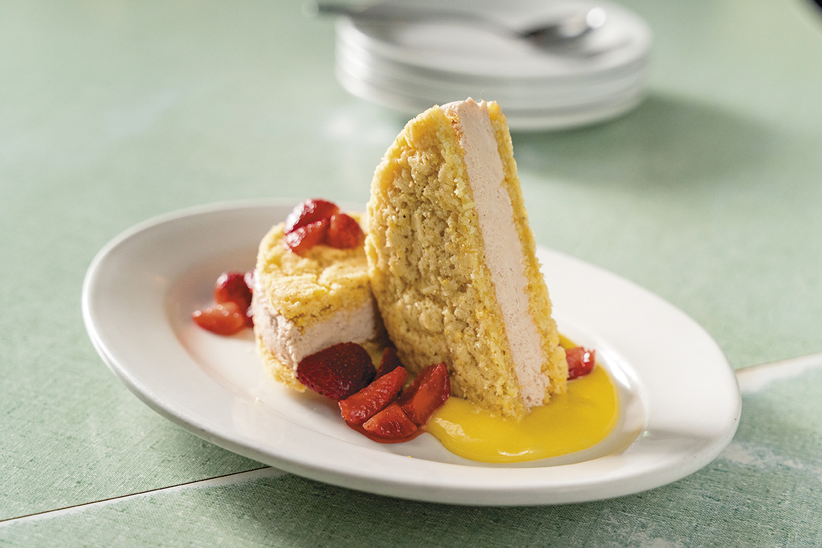 strawberry ice cream sandwich with corn cookies, lemon curd, and n.c. strawberries