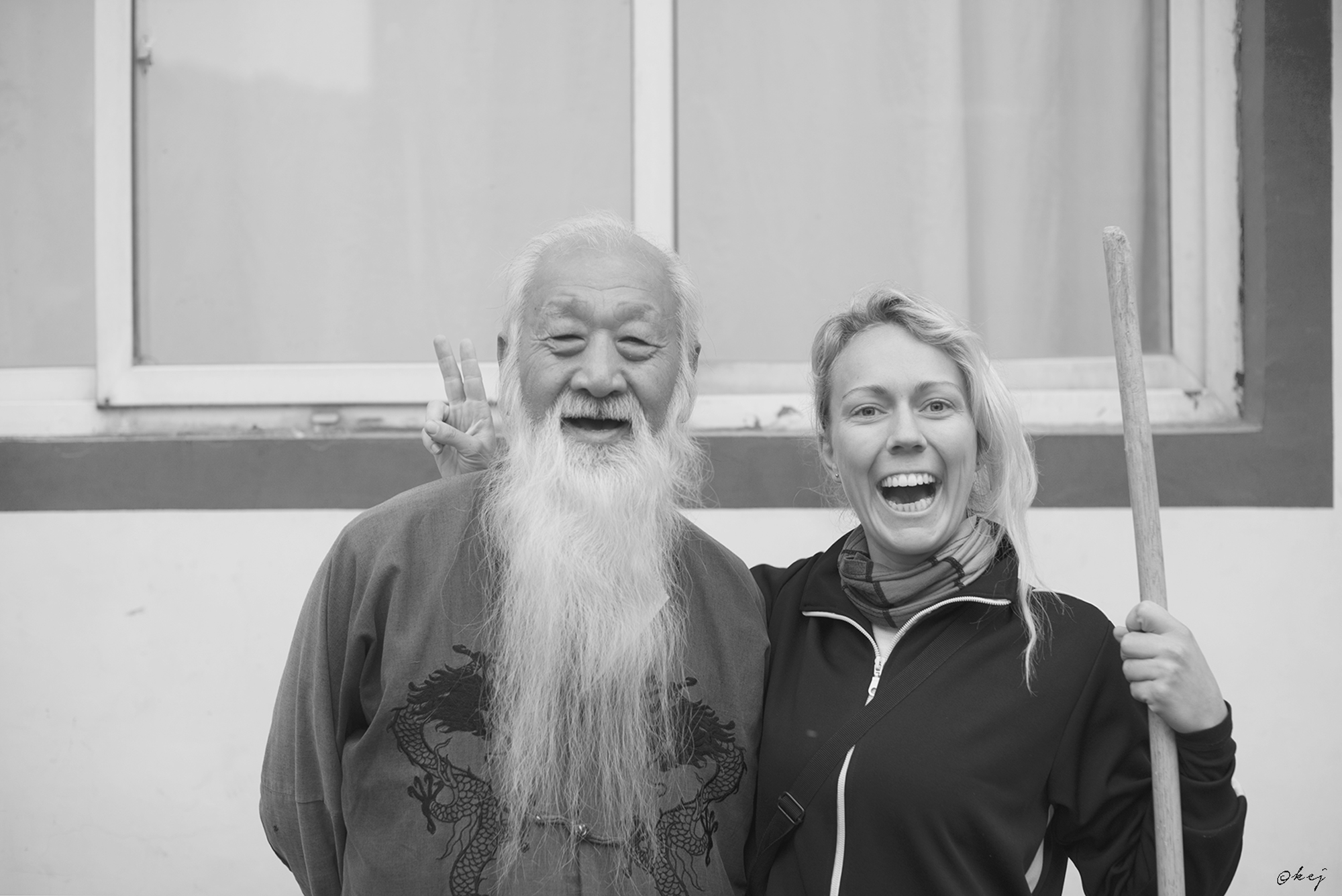 Sanshifu & Evelina Being a gargantuan Tarantino fan, I almost fainted when I saw our tai chi master - a 76 year old version of Pai Mei.