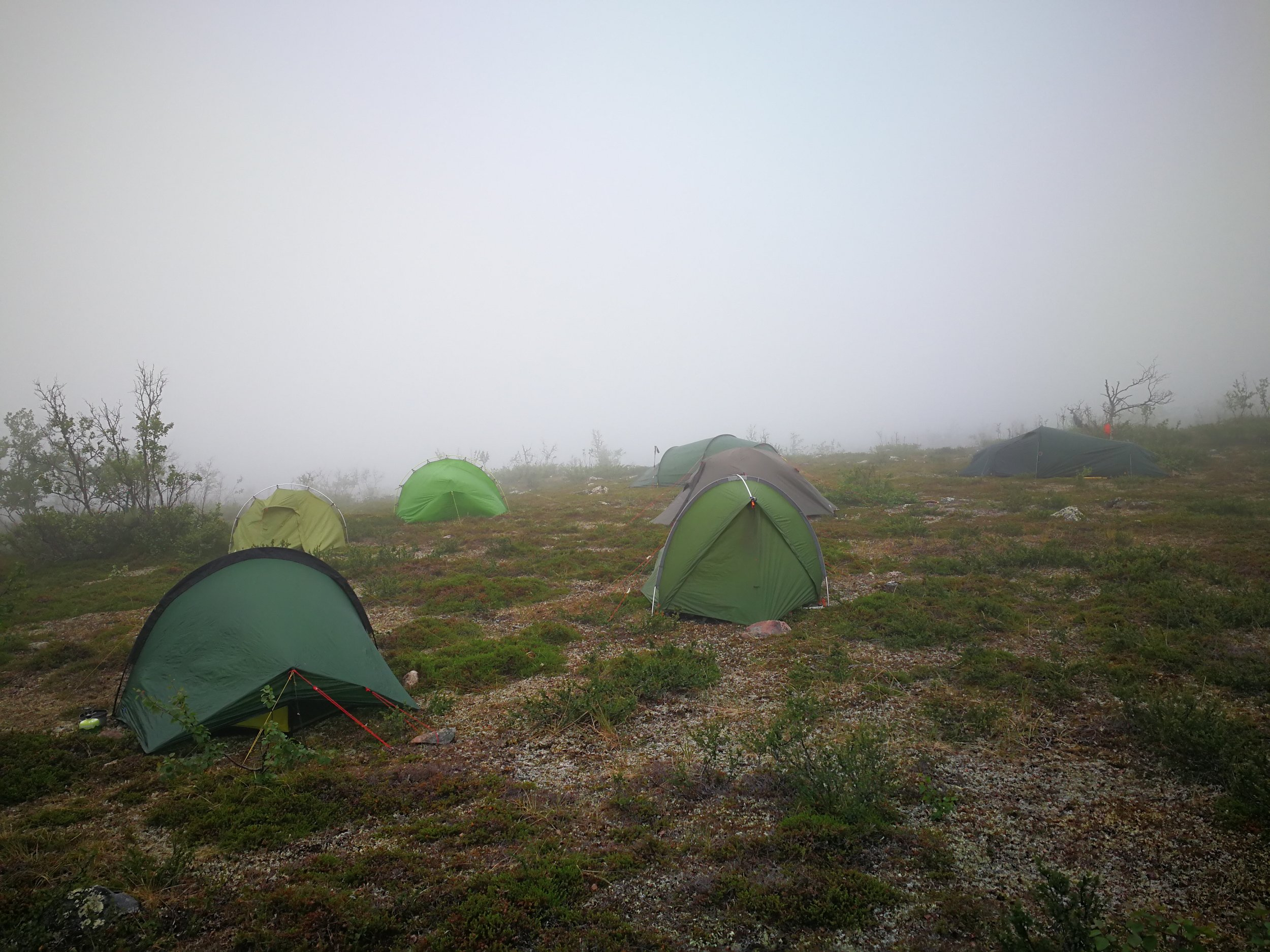 In the mist, I couldn't see far ahead. Suddenly, I stumbled over a gathering of at least 20 tents.