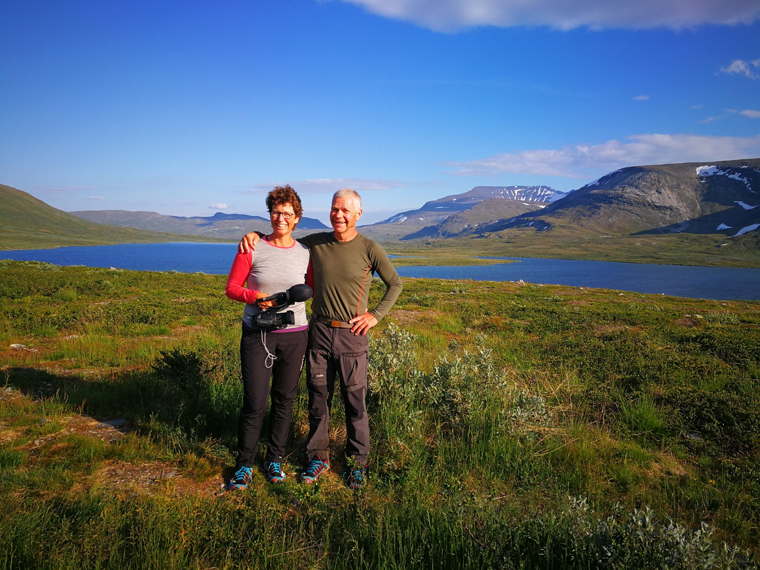 "Swedish couple, Pia og Hasse, was busy making a documentary while hiking the ""Nordkalottleden"" - Vuomajavri, Troms"