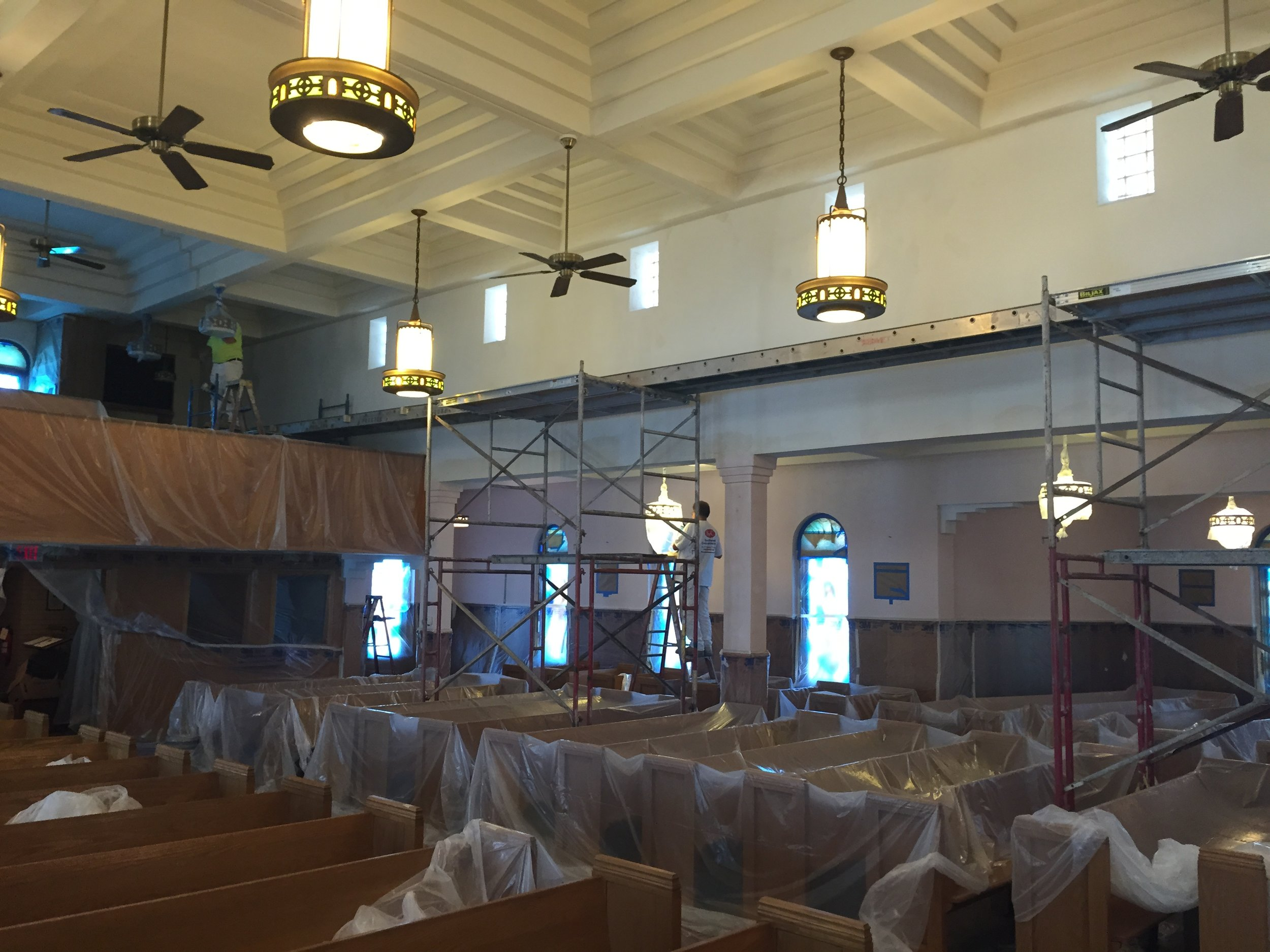 Prepping for paint St. Mary's church.JPG