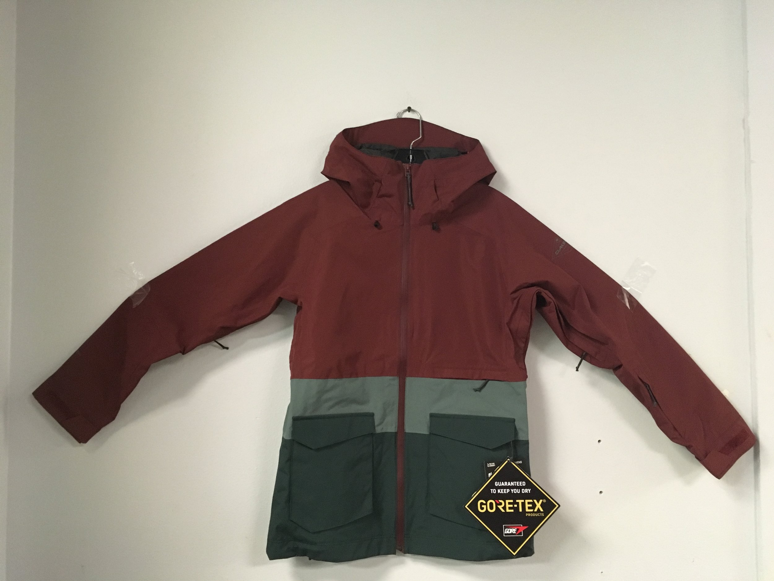 Stay dry in the wet snow and hurricane force winds with Dakine's Remington 2L Gore-Tex jacket! The Remington has fully taped seams, YKK Aquaguard zippers, and 2L Gore-Tex fabric. Retail is listed at $340 but we have you covered at $179. The size is a women's medium.