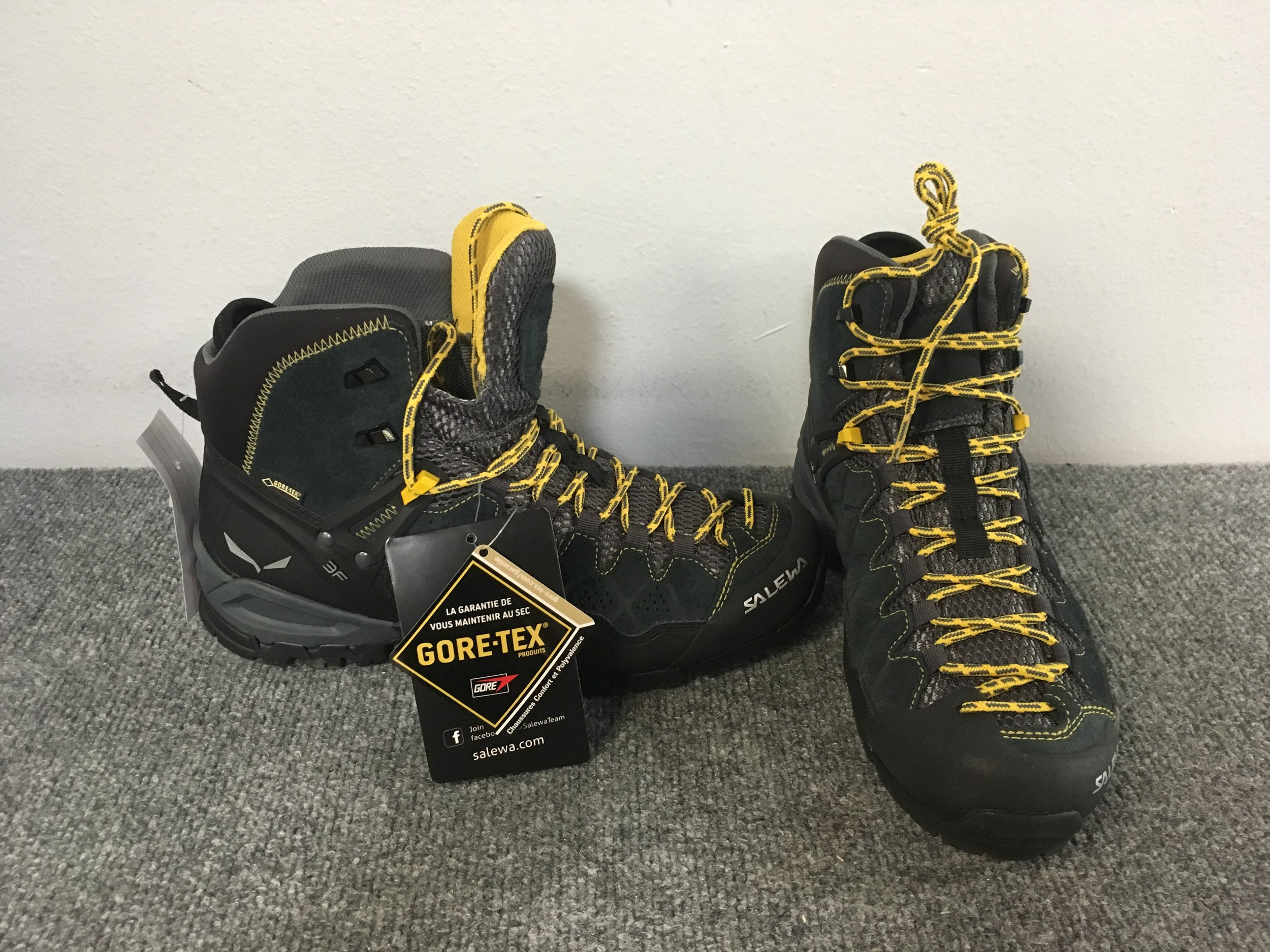 Salewa's Alp Trainer is the perfect hiking/mountaineering boot for the Summer and Fall seasons. The Alp Trainer comes equipped with a Gore-Tex membrane, Vibram soles, and a 3F support system that locks your heel in place when some extra rigidity is needed. Retail for the pair is listed at $200 but we got you covered at $129! The size is men's 42.5
