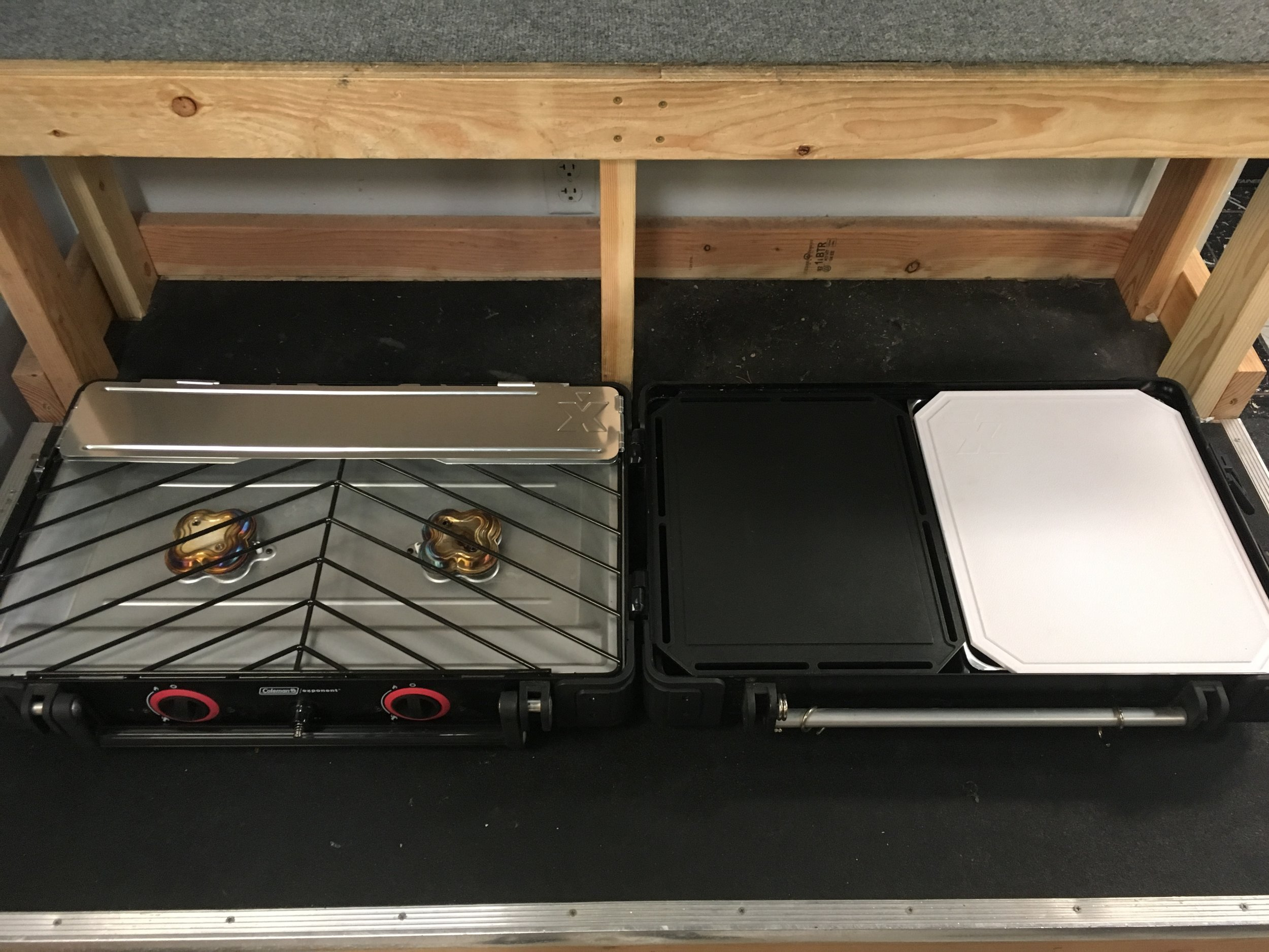 Camp in style with Coleman's Exponent Grill Set. The grill features two propane burners, cutting board and cook set. We're selling it for $150!