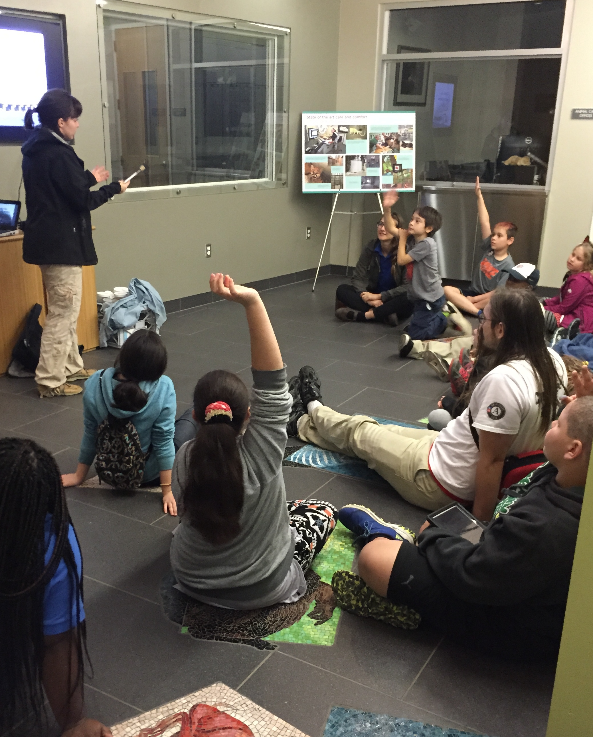 In the veterinary medical lab, we hear about the zoo's care practices.