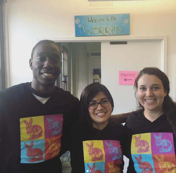 Elliott, Rina (former fellow, Fiver staff), and Casie in the Fiver office where they prepped and supported one another before Camp Fiver kickoff.