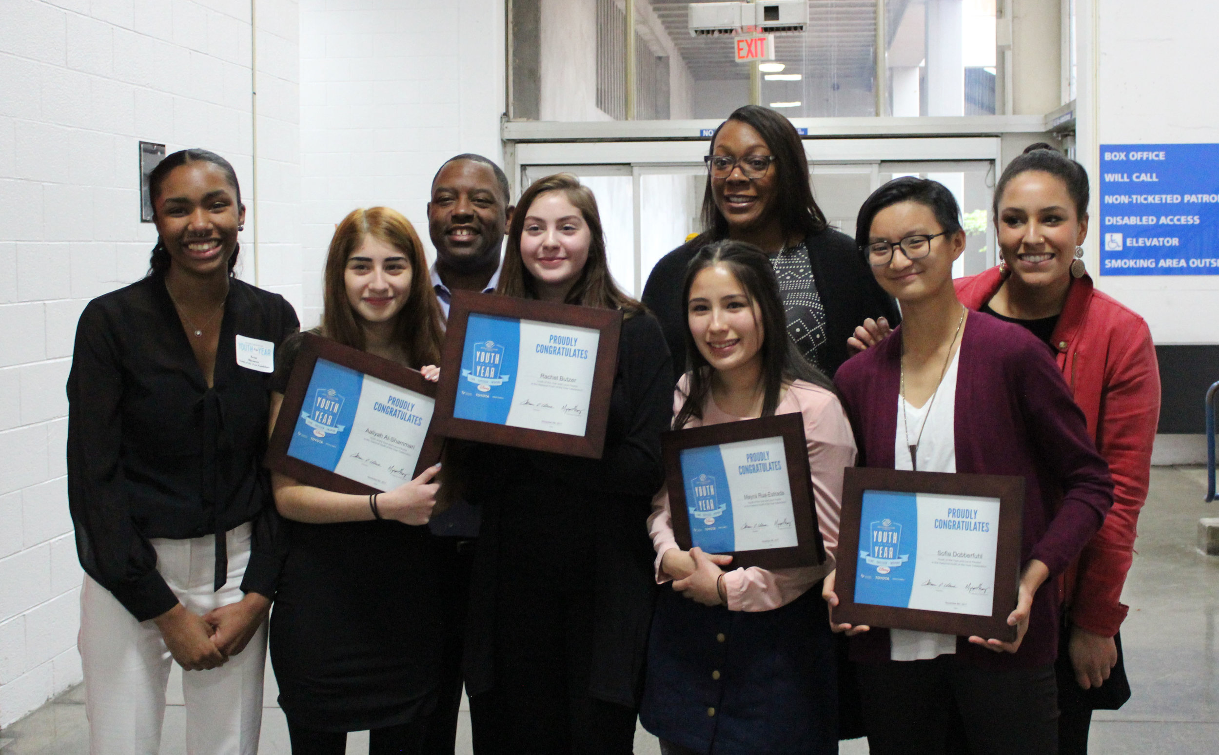 Teya (left) with the other YOY candidates and panel of judges.  Photo Credit: BGCP