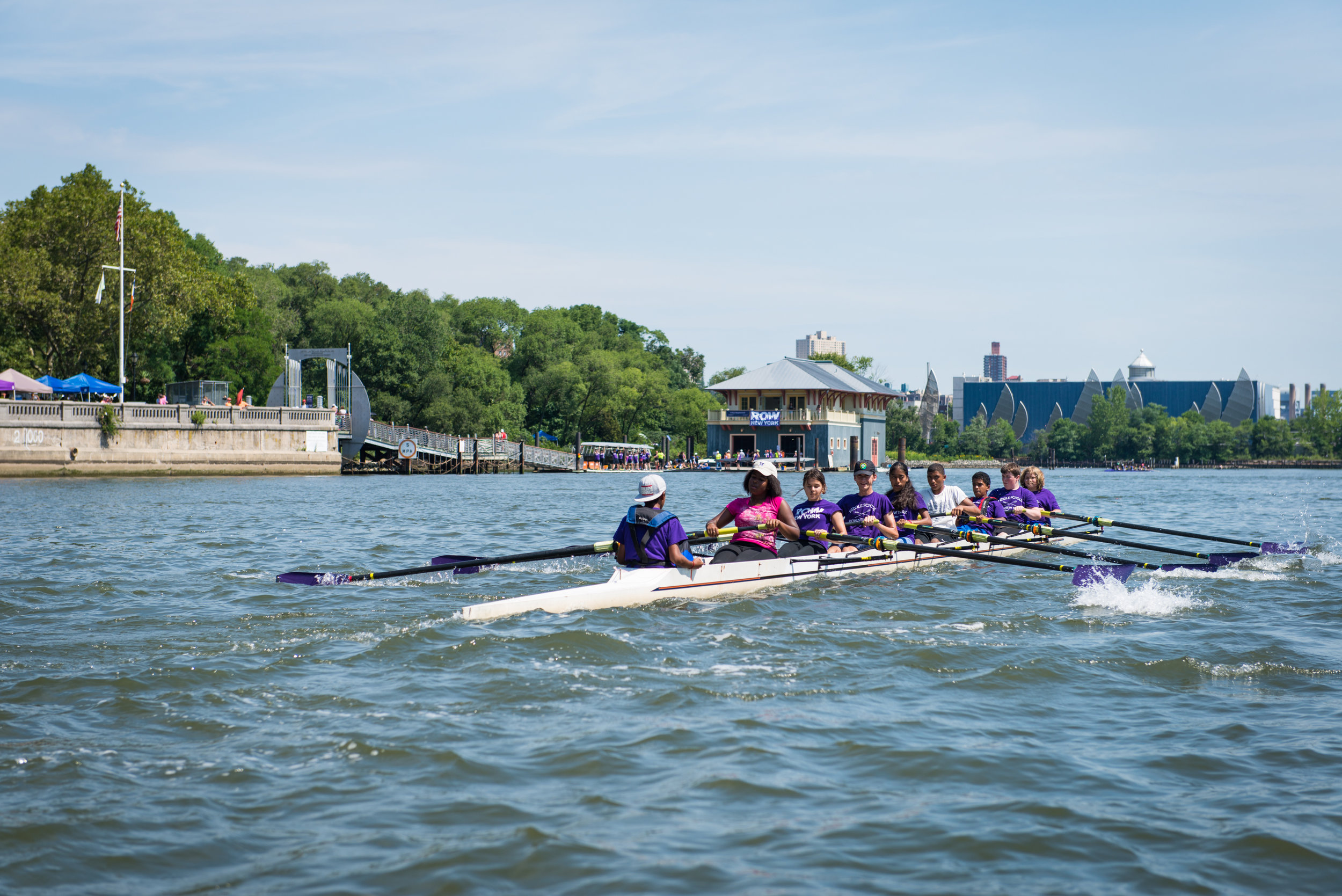 Youth participants at Row New York rowing. Photo credit: Row New York