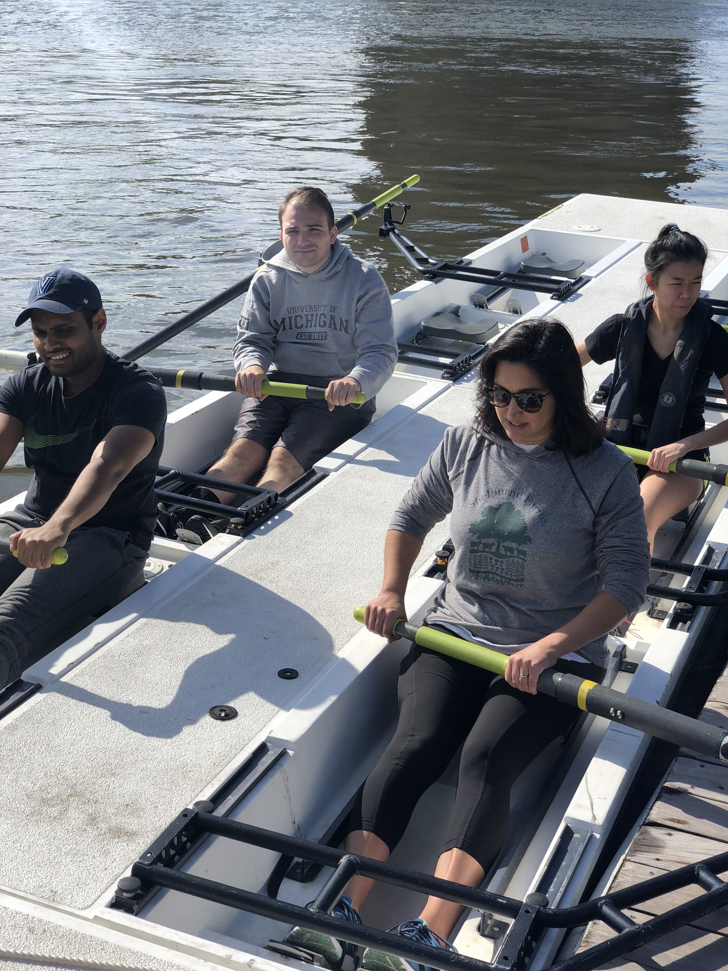 """Laknath during a """"Learn to Row"""" session at Row New York's Manhattan boathouse."""