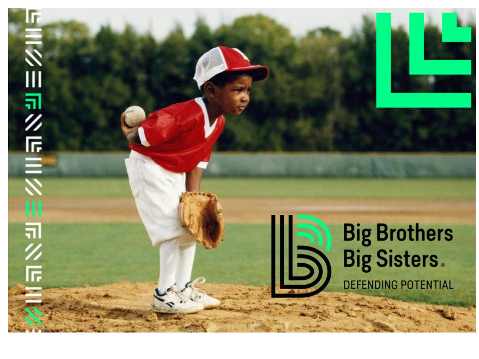 young child on pitching mound with text that says Big Brothers Big Sisters: Defending Potential.jpg